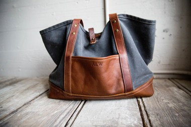 A Holtz Leather Co. tote bag.