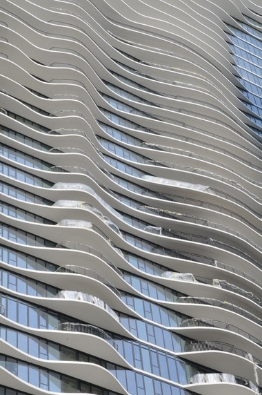 Balconies jut from the Aqua Tower in downtown Chicago.