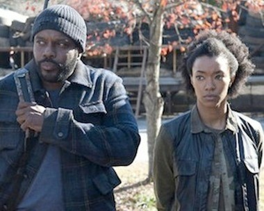 """Sonequa Martin-Green, right, has been upgraded to a series regular on AMC's hit zombie show """"The Walking Dead,"""" which airs Sunday nights. (AMC)"""