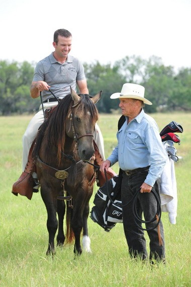 "Black and Robert Duvall are shown here in a scene from the 2011 film ""Seven Days in Utopia,"" in which Black played a professional golfer who is befriended by the rancher played by Duvall. (The Everett Collection.)"