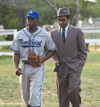 """Holland and Chadwick Boseman, who plays Jackie Robinson, knew of each other from the New York theater before they made """"42"""" together. (Warner Bros. Pictures)"""