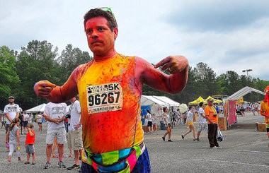 """Sean Astin participated in the Color Me Rad 5K run at Hoover Metropolitan Stadium while he was here filming the movie """"Mom's Night Out."""" (Tamika Moore   tmoore@al.com)"""