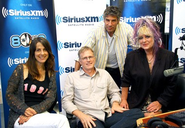 """From left, Martha Quinn, Alan Hunter, Mark Goodman and Nina Blackwood. The former VJs have been seeing more of each other lately, with work sessions for their new book and promotional appearances. """"Martha has been real sweet,"""" Hunter says. """"We're talking about TV, movies, 'I hope we get rich,' and she says, 'I'm just glad we're all friends again.'"""" (SiriusXM photo)"""