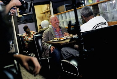 Zimmern enjoys a laugh over lunch with Joe Rucker, the former owner of Eagle's Restaurant in north Birmingham. (Tamika Moore/tmoore@al.com)