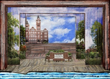 Though no production shots have been taken of the Samford Hall backdrop, this is a rendering of what it looks like on stage. (Courtesy of Julian Crouch)