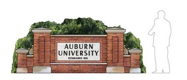"""The Auburn University sign is also prominent in """"Big Fish."""" (Courtesy of Julian Crouch)"""