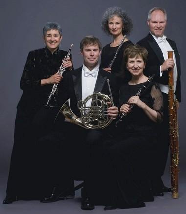 Borealis Wind Quintet: Oboist Tamar Beach Wells, hornist Dan Culpepper, flutist Katherine Fink, clarinetist Kathryn Taylor, bassoonist Wayne Hileman.