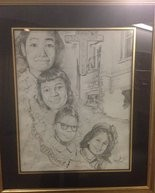 This charcoal painting of the 4 little girls killed in the 16th Street Baptist Church bombing was drawn by Teresa Sheppherd's grandson, Cameron Sheppherd, age 14, a 9th grader at the Alabama School of Fine Arts