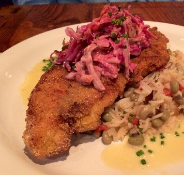 Catfish with cole slaw and Hoppin' John. (Photo by Susan Swagler)