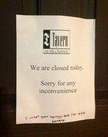 This note has been on the front door of Tavern on the Summit for the past several days. (Bob Carlton/bcarlton@al.com)