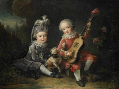 Francois-Hubert Drouais, ''Portrait of the Children of the Comte de Bethune Playing with a Dog'' (1761)
