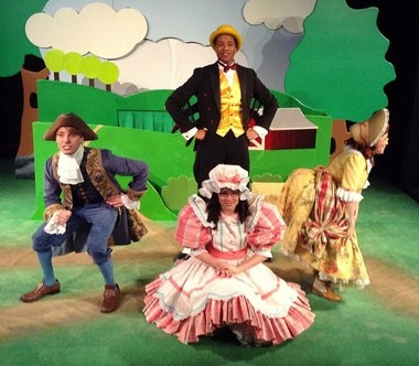 Little Bo Peep (yellow dress)-Carrie Greenberg, Little Miss Muffet (pink dress)-Katie Maiello, Little Boy Blue (blue suit)-Stephen Billy,Wolf Spider (black suit, yellow vest)-Quinn Q. Cason (Merelee Robinson, Director of Touring)