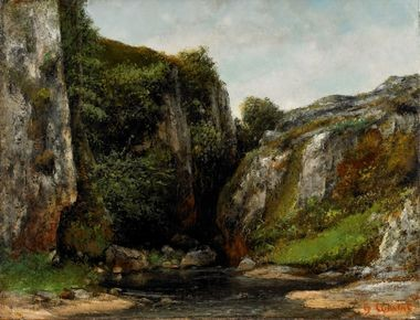 "Gustave Courbet's ""Entree d'un Gave"" (1876) was restituted by The Monuments Men after being plundered for Hermann Goering's personal collection."