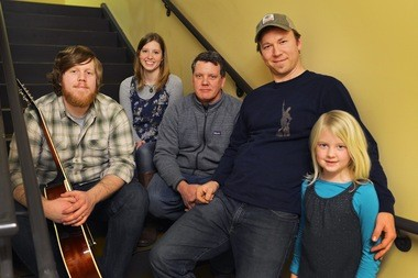 From left, Gabriel Akins and Sarah Akins of the Matchcoats, Doug Davis and Carter Laney of the Yahoos String Band and Laney's daughter, Mary Carter Laney. (Tamika Moore | tmoore @AL.com)