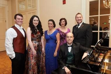 Opera Birmingham competition winners, from left, Johnathan Riesen, Alison King, JoAna Rusche, Lisa Chavez, and Nicholas Brownlee. With accompanist Elden Little.