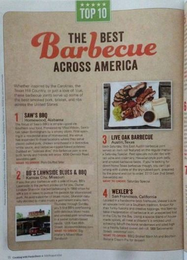 Saw's BBQ is No. 1 with Cooking with Paula Deen magazine.