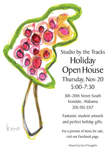Student artworks abound at the holiday open house organized by Studio by the Tracks.