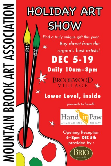 The Mountain Brook Art Association takes over the lower level at Brookwood Village for its holiday art show.