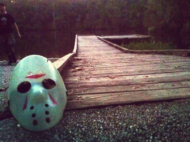Fans pay homage to the infamous Jason Voorhees hockey mask by placing it at the foot of the Byrnes Lake boat launch in rural Baldwin County, Ala. (Photo credited to Leah Smith)