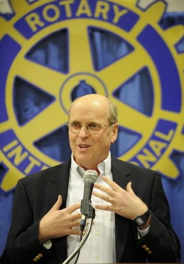 Bill Hancock speaks to the Rotary Club of Huntsville on Oct. 22, 2013, in Huntsville, Ala. (Eric Schultz/eschultz@al.com)