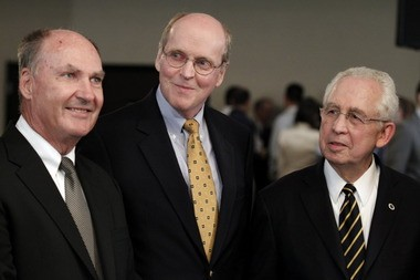 From left, Big Ten Commissioner Jim Delany, BCS executive director Bill Hancock and SEC Commissioner Mike Slive are pictured during an interview following a BCS presidential oversight committee meeting on June 26, 2012, in Washington, D.C. (AP Photo/Alex Brandon)