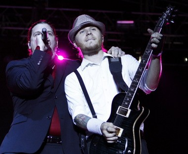 Shinedown singer Brent Smith and guitarist Zach Myers perform at BayFest 2010. The group was one of the headliners at BayFest 2015, but following that event's cancellation, they'll play Oct. 2 at Soul Kitchen instead. (LYLE W. RATLIFF/ CORRESPONDENT)