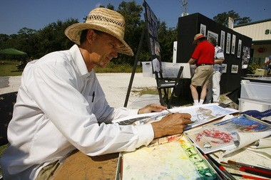 Artist Stig Marcussen of Ocean Springs, Miss., works on a watercolor during the 2nd annual Dauphin Island Art Trail on Saturday, Oct. 13, 2012, in Dauphin Island. According to organizers, Marcussen will be among the featured artists taking part in the 2015 Art Trail on Saturday, Oct. 10. (Press-Register file)