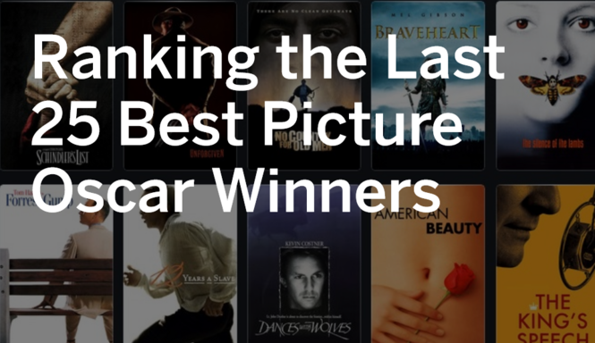 Ranking the last 25 Oscar winners for Best Picture - al com