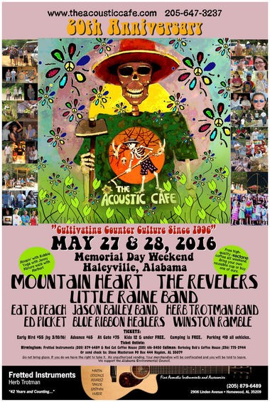 A 20th anniversary poster for the Acoustic Cafe has a skeleton theme, reflecting founder Steve Masterson's love of the Grateful Dead. On the back, the poster holds images of other flier designs printed for the festival, 1996-2015. (Photo courtesy of the Acoustic Cafe)