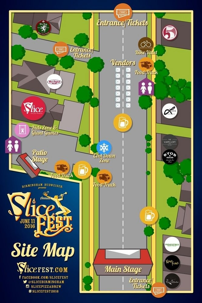 This is the site map for SliceFest 2016, which takes place Saturday, June 11, in Birmingham, Ala. (Image courtesy of SliceFest)