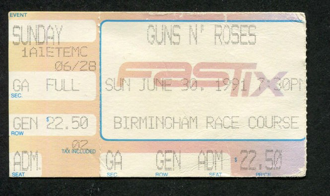 A ticket to Guns N' Roses' 1991 concert at the Birmingham Race Course.