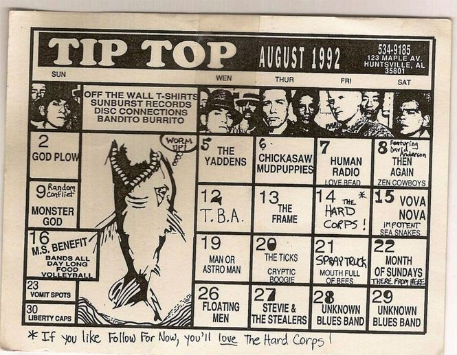 A Tip Top calendar from August 1992 listing upcoming acts there.