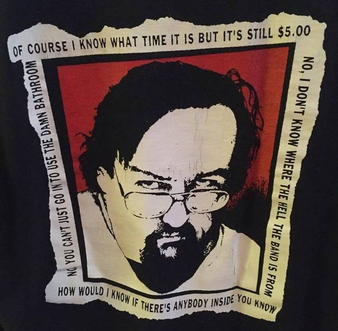 """A closeup of the back of a """"Lanny Wear"""" T-shirt featuring Tip Top doorman Lanny Taylor. (Courtesy photo)"""