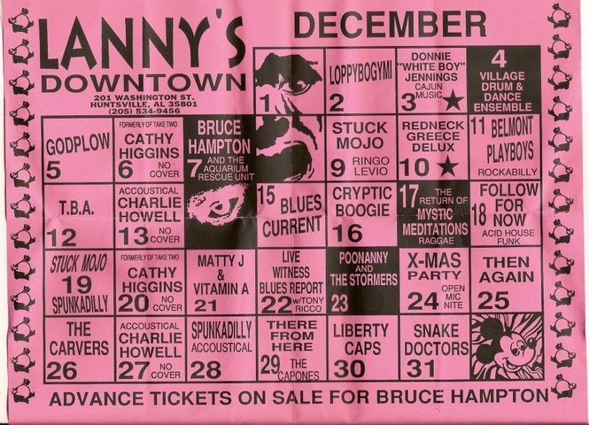 A mid-90s calendar from Lanny's Downtown listing upcoming musical acts there.