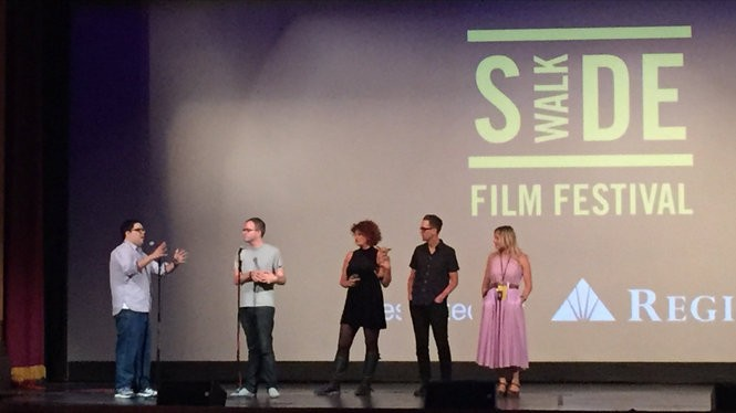 """Writer/Director Zach Clark (middle left) and Producer Melodie Sisk (middle) during the Q&A following """"Little Sister"""" Sunday night."""