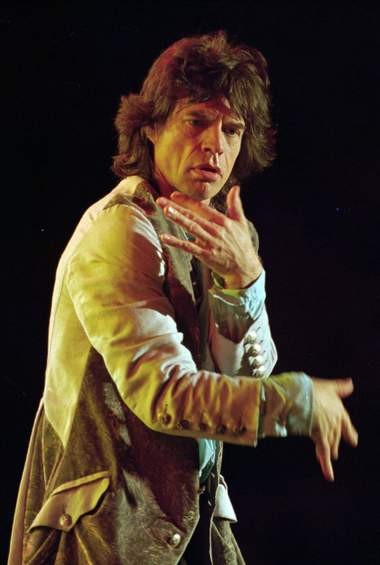 """Mick Jagger performs with the Rolling Stones in 1994 on the """"Voodoo Lounge"""" tour. (AP Photo/Chris O'Meara)"""