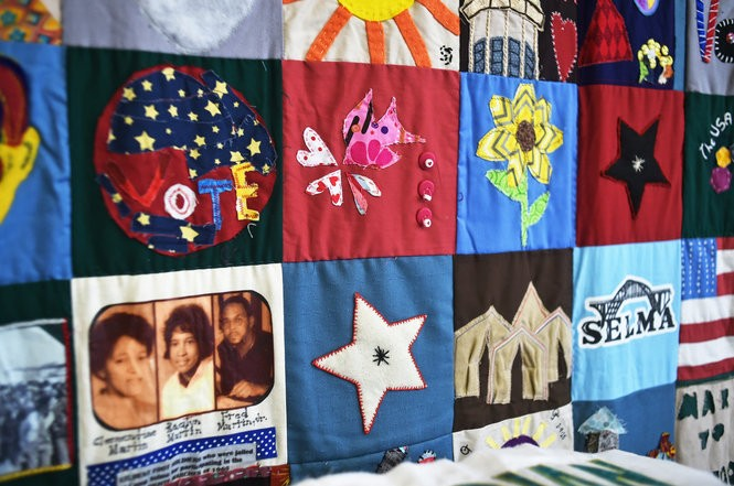 Detail of a quilt commemorating the Selma-to-Montgomery marches of 1965. (Tamika Moore | tmoore@al.com)