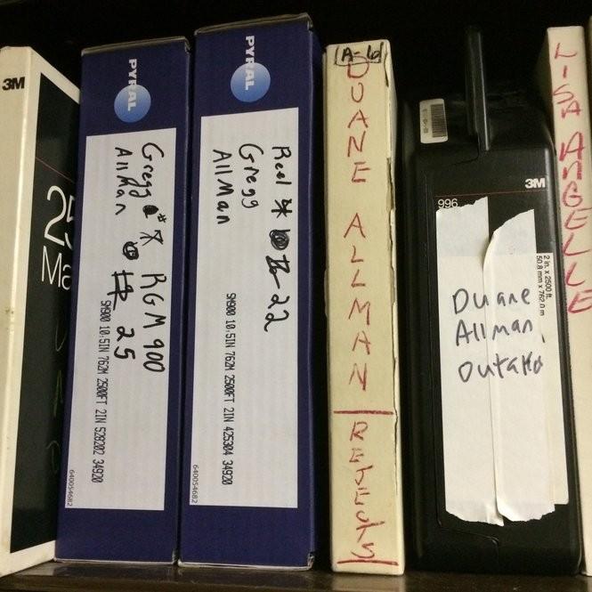 Duane and Gregg Allman recordings on a shelf inside the Fame Studios tape vault. (Matt Wake/mwake@al.com)