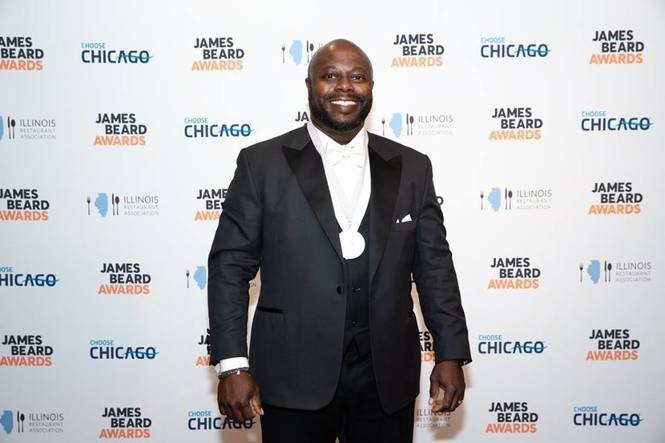 Rodney Scott won the James Beard Foundation Award for best chef Southeast during the 2018 awards show at the Lyric Opera of Chicago. (Photo by Eugene Galdones, courtesy of James Beard Foundation)