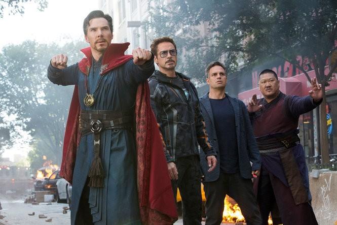"Fom left: Benedict Cumberbatch, Robert Downey Jr., Mark Ruffalo and Benedict Wong in ""Avengers: Infinity War."" (Photo Chuck Zlotnick /Copyright Marvel /Copyright Walt Disney Studios Motion Pictures /Courtesy Everett Collection)"