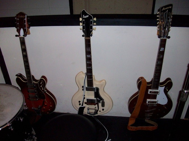 "Electric guitars used on The Black Keys' ""Brothers"" album. (Courtesy photo)"