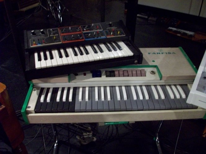 "Some of the keyboards used on The Black Keys' ""Brothers"" album. (Courtesy photo)"