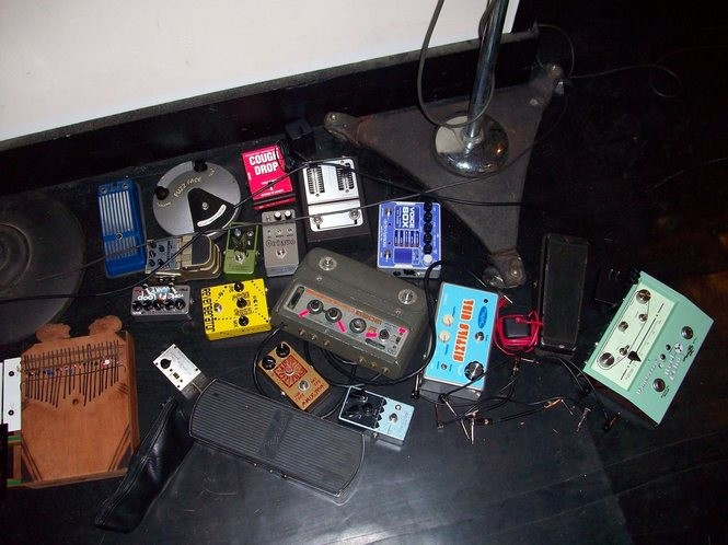"Effects pedals used on The Black Keys' ""Brothers"" album. (Courtesy photo)"