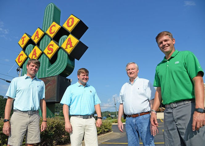 Rod Wilkin, second from right, is pictured here with his sons Rod II, far left, Ben, second from left, and Brett, far right. All three sons grew up working at Taco Casa and still work alongside their father. (Ben Flanagan/bflanagan@al.com)