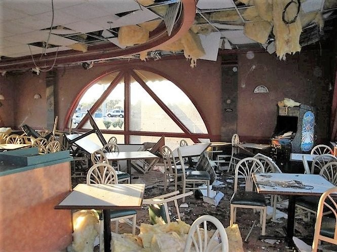 This is what the interior of the Taco Casa at 603 15th St. East looked like after a deadly tornado swept through Tuscaloosa on April 27, 2011. The restaurant reopened 173 days later. (Photo courtesy of Taco Casa)