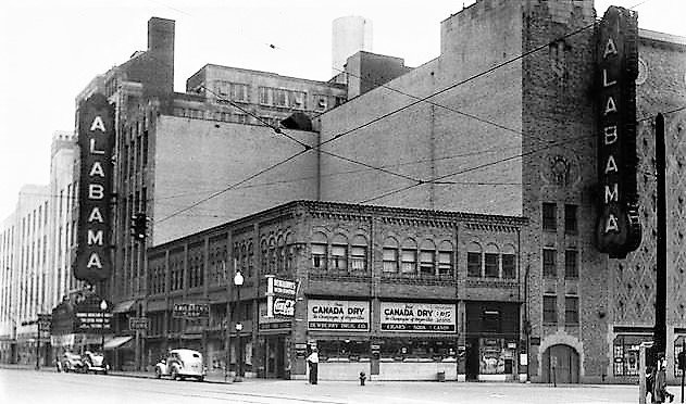 This is an archival photograph of what the twin signs outside the Alabama Theatre in Birmingham, Ala., looked like from 1927 to 1957. (Photo courtesy of Birmingham Landmarks Inc.)