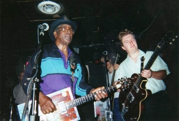 Local guitarist Mark Torstenson, right, performs with blues icon Bo Diddley at Huntsville venue Tip Top Cafe in 1993 (Courtesy photo)