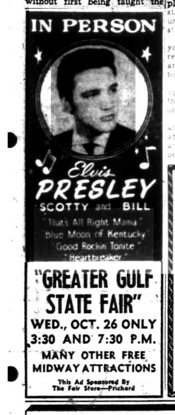 Elvis Presley appeared at the Greater Gulf State Fair in Oct. 1955. (Press Register, Oct. 21, 1955)