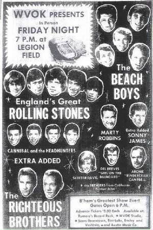 An advertisement for the Rolling Stones' 1965 performance at Legion Field.