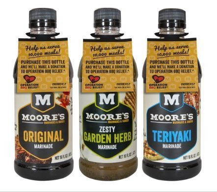 Moore's Marinades and Sauces will donate 10 cents from every bottle of marinade and sauce sold this summer to Operation BBQ Relief. (Photo courtesy of Moore's Marinade and Sauces)